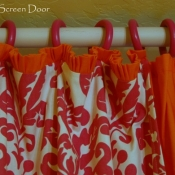 15-Hot Pink Damask & Orange Curtains