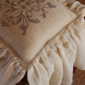 27D-Square Stenciled Burlap Pillow