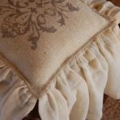 27D-Square Stenciled Burlap Pillow