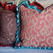 16E-Brown Damask and Cinnamon Swirl Pillows