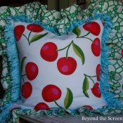 11F-Cherry Pillows with Ruffle & Trim