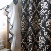 13-Ribbon Trimmed Sheer Bathroom Curtain
