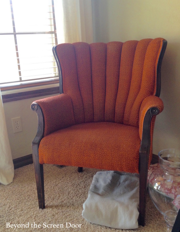 Before Reupholstered Vintage Channel Back Chair