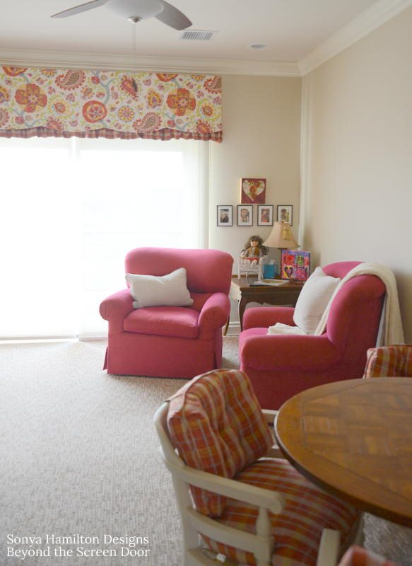 Pink Floral Valance featuring Scallops, Paisley & Plaid