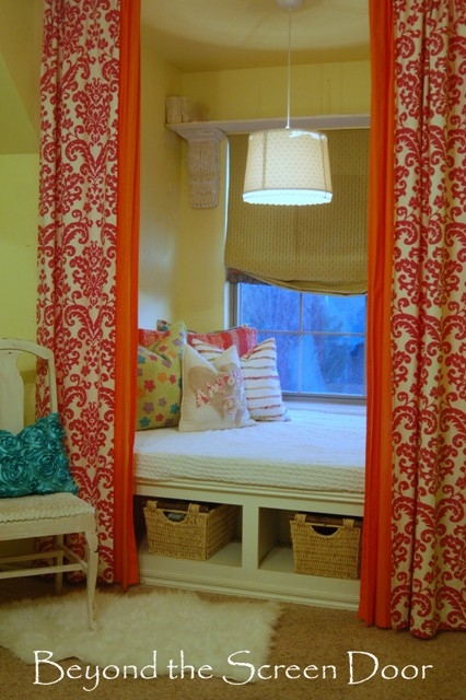 Hot Pink Damask and Orange layere Curtain Panels