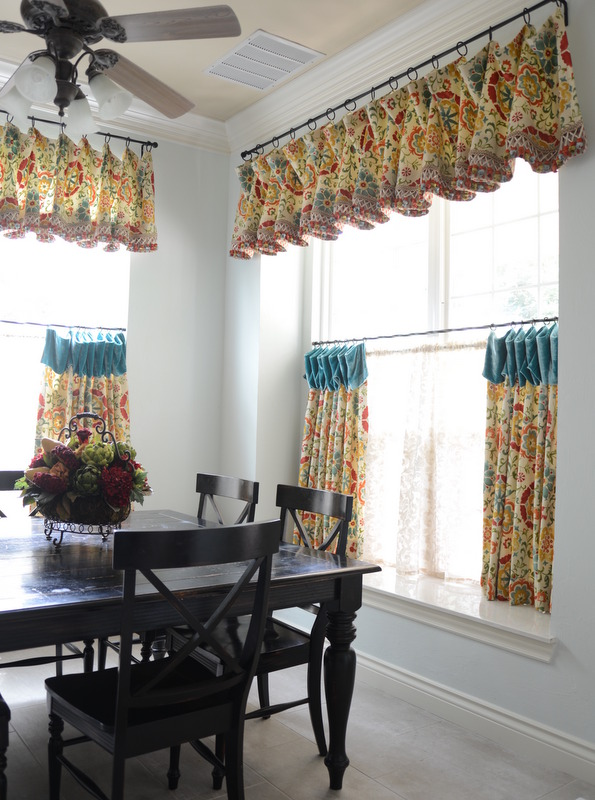 colorful cafe curtain and valance