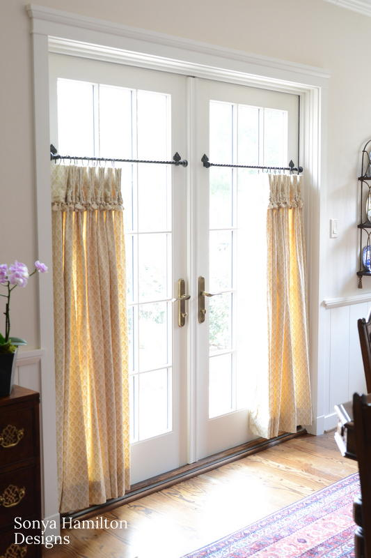 Pleated Cafe Curtains for French Doors