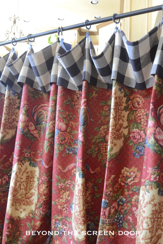 Red Rooster Floral Cafe Curtain With Black Check Cuff Sonya Hamilton Designs