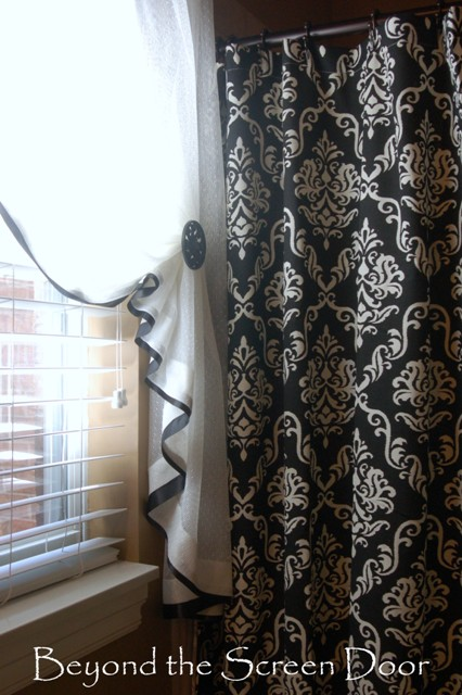 Ribbon Trimmed Bathroom Curtain