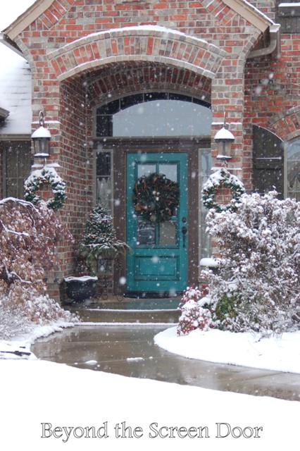 Turquoise Front Door Winter Wonderland